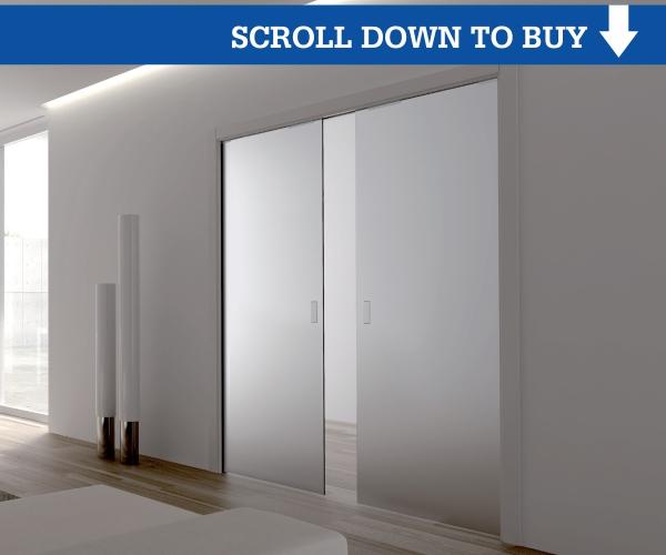 Eclisse Double Glass Pocket Door Complete Package 100mm